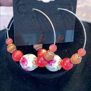💐5/25 Porcelain painted bead flower hoop earrings